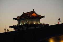Tower of the ancient city wall of Xian, China. Tower of the ancient city wall of Xian in the evening. China Royalty Free Stock Photos