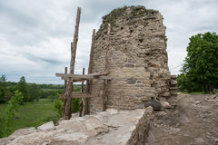 Tower of ancient Izborsk fortress Royalty Free Stock Photography