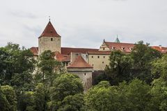 The tower of the ancient Prague Castle in the historic district of Prague. Czech Republic royalty free stock photography