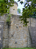 Tower ans wall of castle. Tower and wall of German castle royalty free stock photos