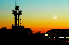 Tower Antenna. A telecommunications tower antenna at dusk Stock Photo