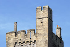 Tower on Arundel Castle. Sussex. UK. Top of square tower on Arundel Castle. West Sussex. England. With chimney pots Royalty Free Stock Photos