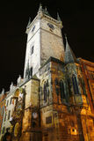 Tower with astronomical clock at Prague city, Czech Republic. At night Royalty Free Stock Photography