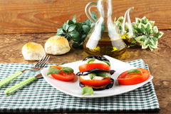 Tower of aubergine, mozzarella and tomato Royalty Free Stock Image