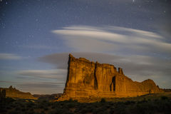 Tower of Babel Arches National Park at Night. Courthouse Towers at night against beautiful starry sky Stock Photos