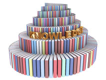 Tower of Babel created from books. With Knowledge word isolated on white stock illustration