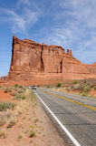 Sandstone Castle - Tower Babel, Vertical. Tower Babel, one of many colorful sandstone towers in Arches National Park, Moab, USA Stock Images