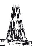 Tower of Babel (vector). Drawing of an imaginary tower Royalty Free Stock Images