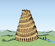 Tower of Babel. Vector drawing Royalty Free Stock Images