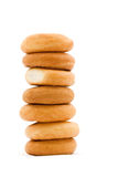 Tower of bagels. On white background picture Stock Photos