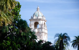 Tower in Balboa park. Tower framed by line of palm trees in Balboa park, San Diego royalty free stock image