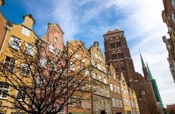 Tower of St Marys Church Cathedral with spire, Gdansk, Poland stock image