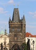 Tower with battlements of the Charles Bridge in Prague. In Czech Republic Europe Stock Photos