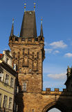 Tower with battlements of the Charles Bridge in Prague Old Town. In Czech Republic Europe Stock Photos