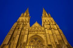 Tower of Bayeux Cathedral Normandy France Stock Image