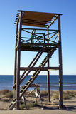 Tower on the beach royalty free stock photos