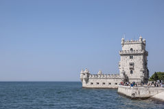 Tower of Belem. Tower of Belen on the bank of the river Tagus royalty free stock photo