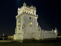 Tower of Belem At Night Stock Images