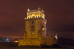 Tower from Belem at night in Lisbon Portuga Stock Photos