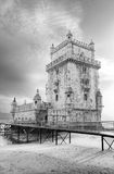 Tower of Belem at sunset in black and white. Lisbon, Portugal Royalty Free Stock Photo