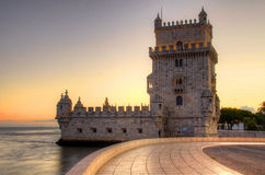 Tower of Belem at sunset, Lisbon Royalty Free Stock Images