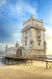 Tower of Belem at sunset. Lisbon, Portugal Stock Image