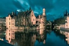 Tower Belfort from Rozenhoedkaai in Bruges Stock Photos