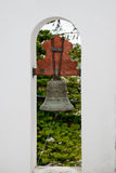 Tower bell. Church detail with bell in arch Stock Photos