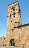 Tower bell of Ainsa. Street of Ainsa  situated in the spanish province of Huesca. You can see  the tower bell of mudejar style . It´s a cobbled street in Stock Photo