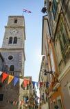 Tower bell ,Catholic church of St. Ivan. Sibenik, Croatia stock photo