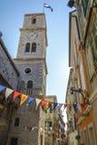 Tower bell ,Catholic church of St. Ivan. Sibenik, Croatia royalty free stock photos
