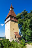 Tower of Biertan church, Transylvania. Medieval tower of Biertan fortified church in Transylvania, one of saxon landmarks of Romania Royalty Free Stock Image