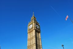 Tower of Big Ben, Lamppost and British Flag Royalty Free Stock Photo