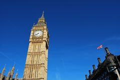 Tower of Big Ben, Westminster Station and British Flag Stock Photos