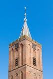 Tower of Big Church of Naarden, Netherlands. Top of tower of Big Church or Saint Vitus Church in old town of Naarden, North Holland, Netherlands stock image