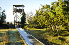 Tower for birdwatching. A footbridge suitable for disabled persons leading to a tower for birdwatching Royalty Free Stock Photo