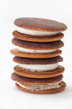 Tower biscuit with white cream on a white background Royalty Free Stock Images