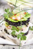 Tower of black and white rice with shrimp and zucchini Royalty Free Stock Photo