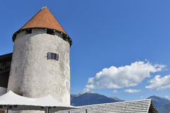Tower of Bled Castle, Slovenia stock photo