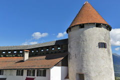 Tower of Bled Castle, Slovenia Royalty Free Stock Images