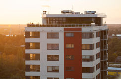 Tower block at sunset Stock Images