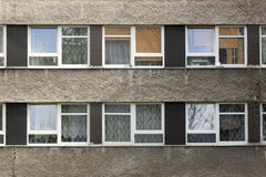 Tower Block Windows. Tower block bindows with blinds and curtains Stock Photos