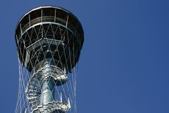 Tower on blue sky. Observation tower on clear blue sky Royalty Free Stock Photography