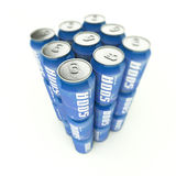 Tower of  blue soda cans Royalty Free Stock Images