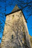 The tower of Bosham Church in West Sussex, England. An ancient site. stock image