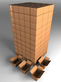 Tower from boxes with open boxes. Tower from closed boxes three dimensional model Royalty Free Stock Photos