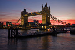 Tower bridge. In London England at dusk stock image