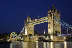 Tower Bridge. From the North Bank at dusk, London, UK Royalty Free Stock Images