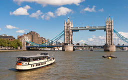 Tower Bridge. Boat passing under Tower Bridge, London, England Royalty Free Stock Photo
