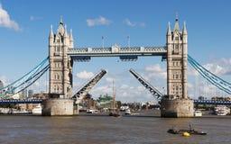 Tower Bridge. Boat passing under Tower Bridge, London, England royalty free stock photos